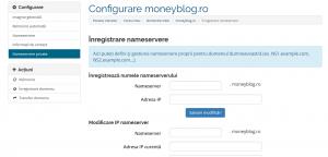 administrare domenii ro din contul de client NS private